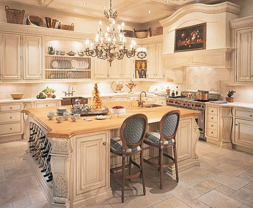 Exotic Chandelier Luxurious Classic Kitchen Design 500×410