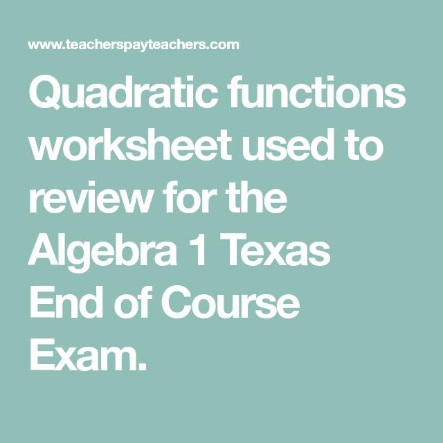 Algebra 1 EOC Review - Quadratic Functions | Pinterest | Algebra and ...
