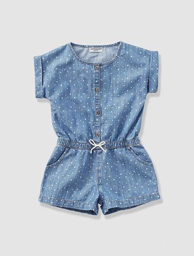 Mono  short  denim  tejano  vaquero  estampado  topos  lunares de  niña   azul bd093eece707