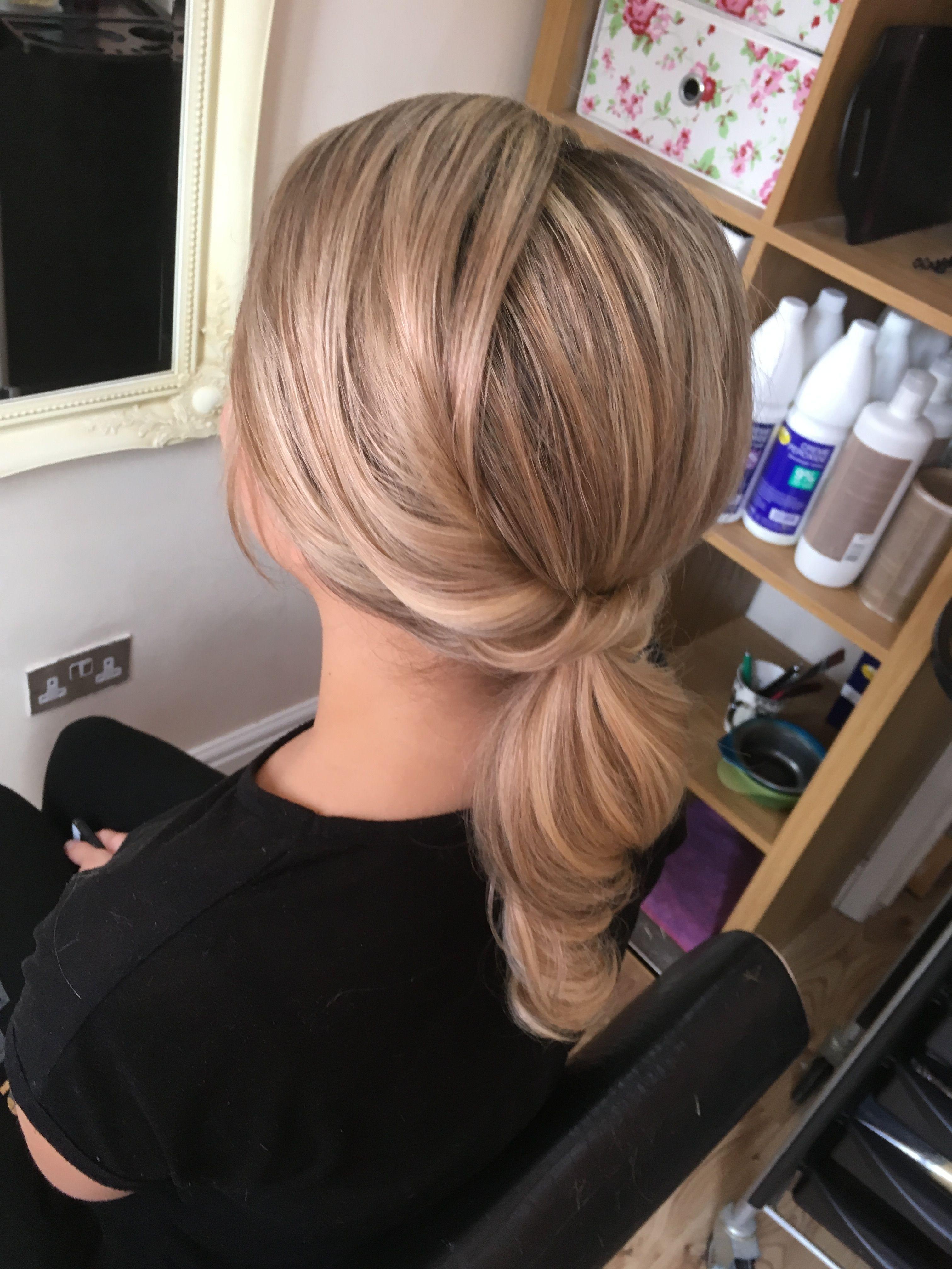 Curled pony simple updo hair style wedding hair pinterest