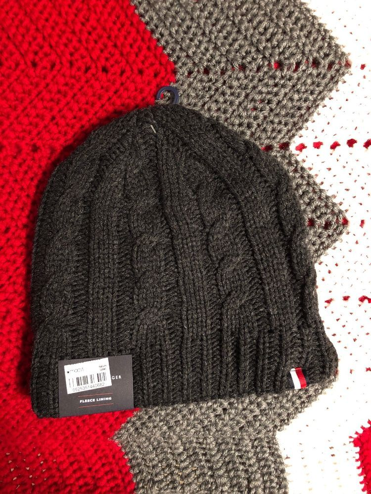 2603a7866c917f NWT Mens Tommy Hilfiger Black Fleece Lined Cable Knit Winter Hat #fashion # clothing #