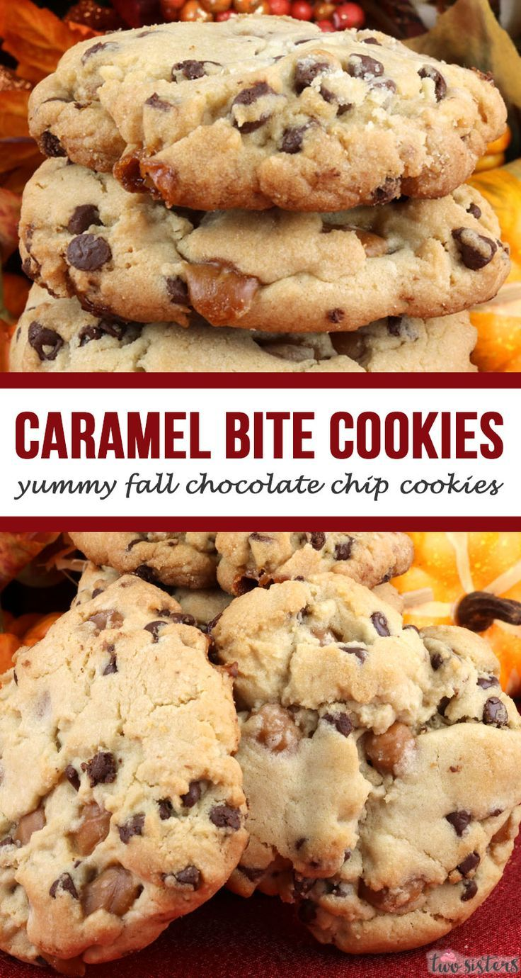 Caramel Chocolate Chip Cookies -  yummy fall chocolate chip cookies! Festive fall chocolate chip cookies are a Fall treat that is sure to please the guests at your Fall and Thanksgiving get-togethers.  Pin these yummy and easy to make Holiday Treats for later and follow us for more great cookie ideas! #FallTreats #FallTreat #FallBakingList