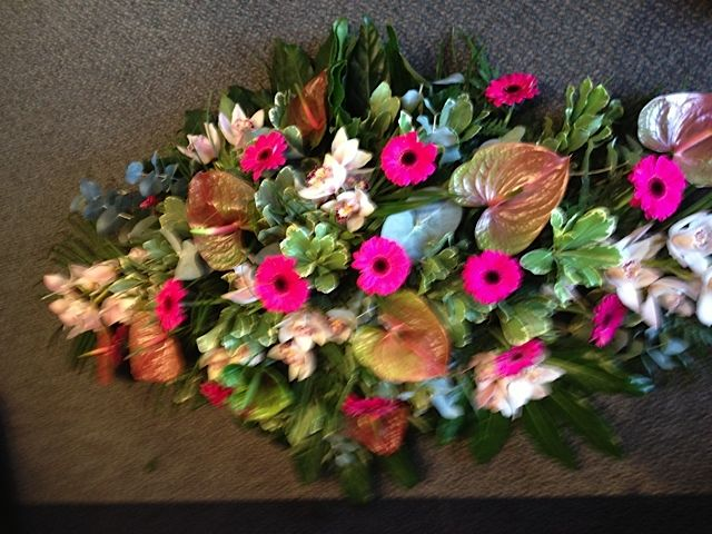 Funeral Flowers. pink and green funeral flowers, coffin spray ...