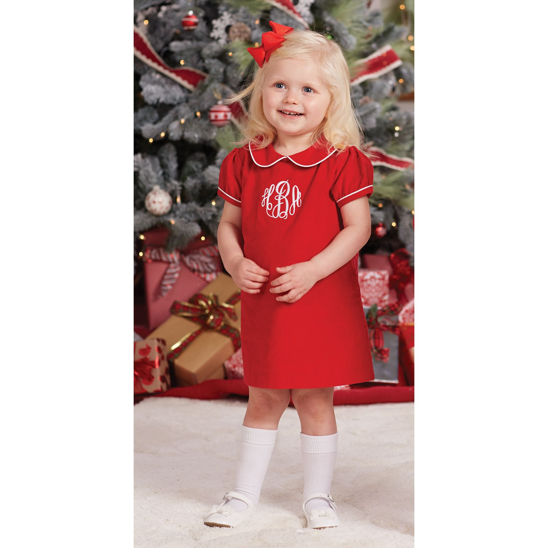 6fb527787 Red corduroy dress features Peter Pan collar, white piping around collar  and…