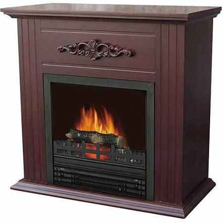 Decor Flame Electric E Heater Fireplace With 28 Mantle Chestnut