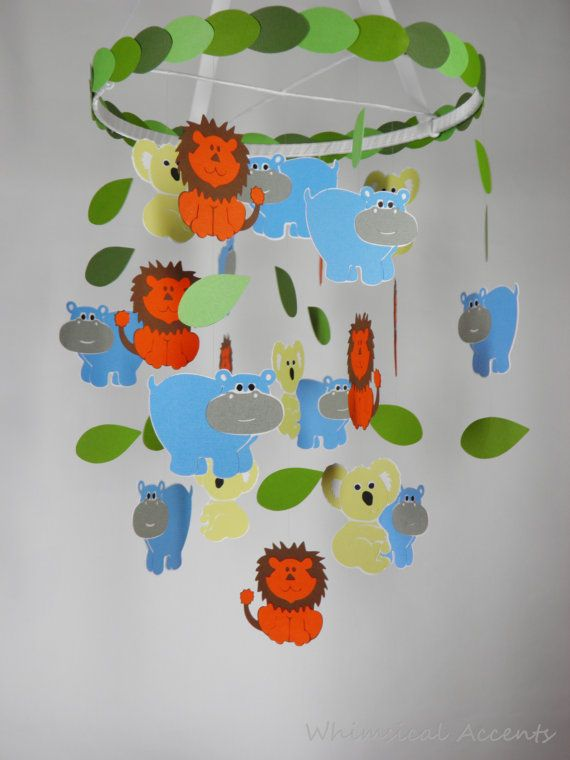 Koala Lion and Hippo Decorative Mobile by whimsicalaccents on Etsy