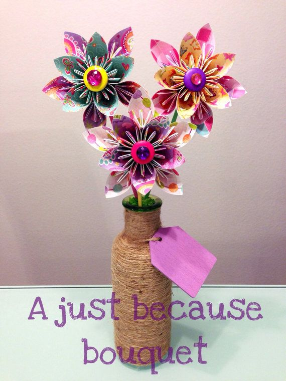 A Just Because Origami Bouquet by Lilpinkstarpower on Etsy