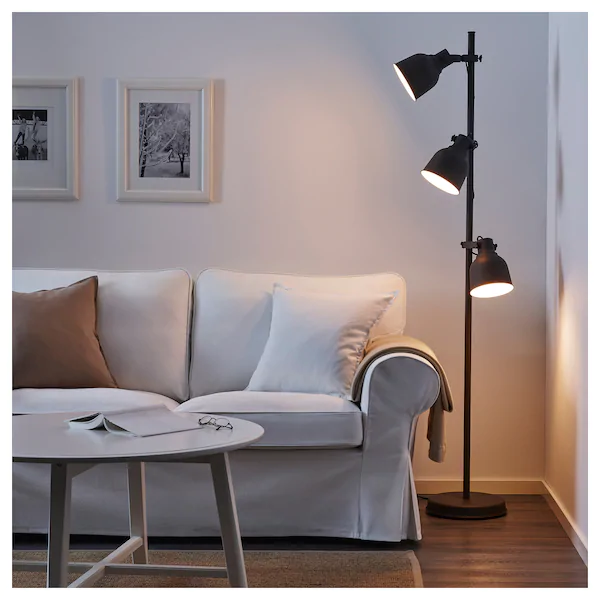 Hektar Floor Lamp W 3 Spots And Led Bulbs Dark Gray Ikea In 2020 Ikea Floor Lamp Reading Lamp Floor Floor Lamp