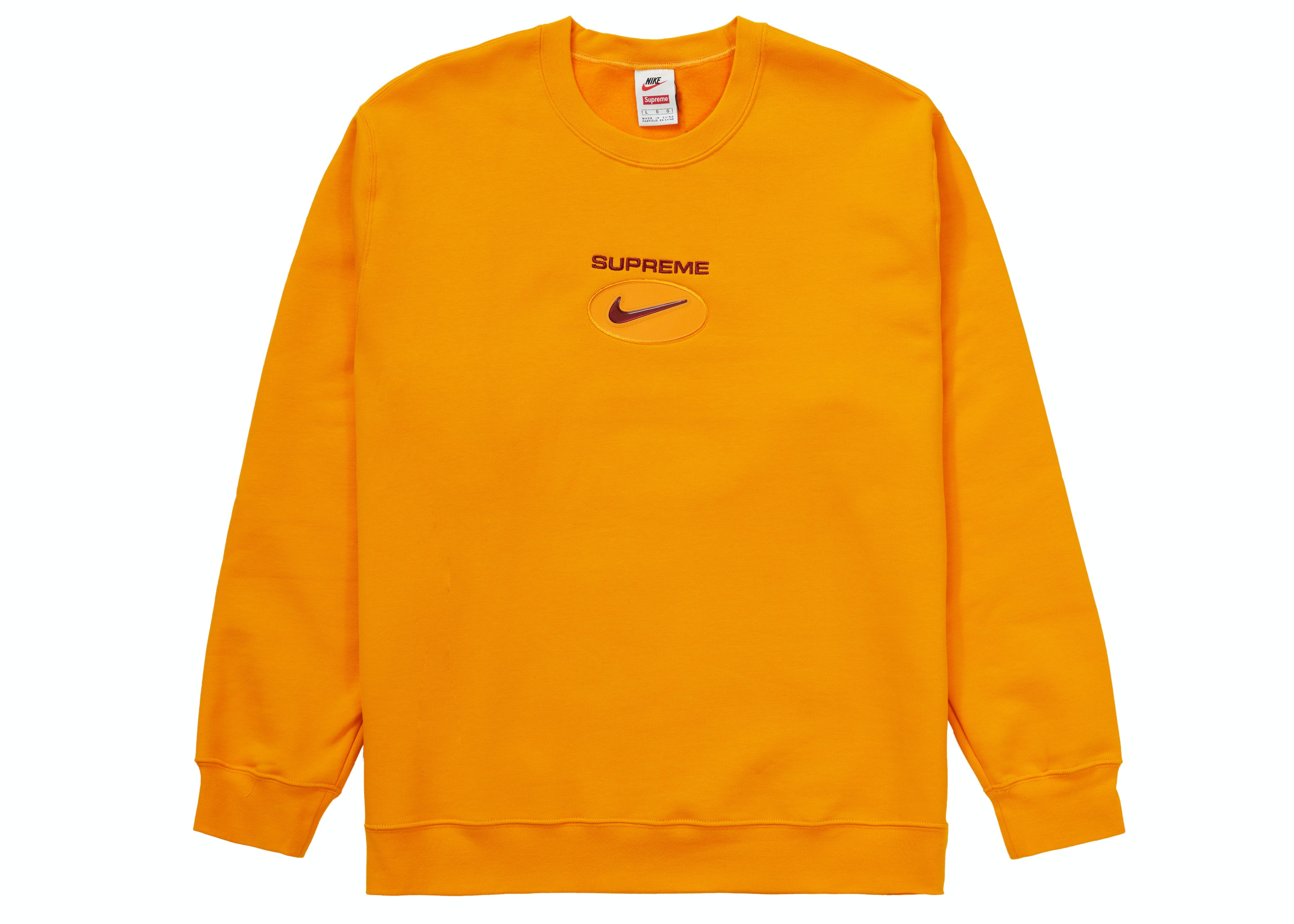 Check Out The Supreme Nike Jewel Crewneck Orange Available On Stockx In 2021 Long Sleeve Tshirt Men Crew Neck Supreme Logo [ 3641 x 5097 Pixel ]