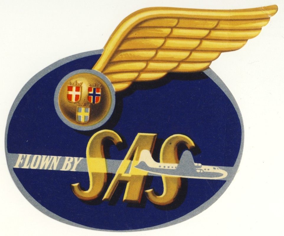 Vintage Luggage Label Sas Airlines Sweden Scandinavian Airlines System Sas Airlines Luggage Labels