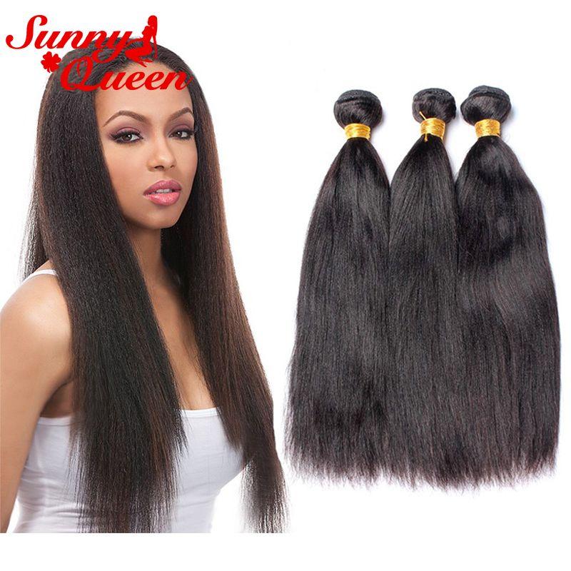 8a Italian Yaki Brazilian Virgin Human Hair Weave Bundles 3pcs Yaki