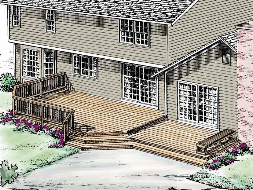 Eplans Deck Plan - Split-Level Sun Deck from Eplans - House Plan Code HWEPL12482