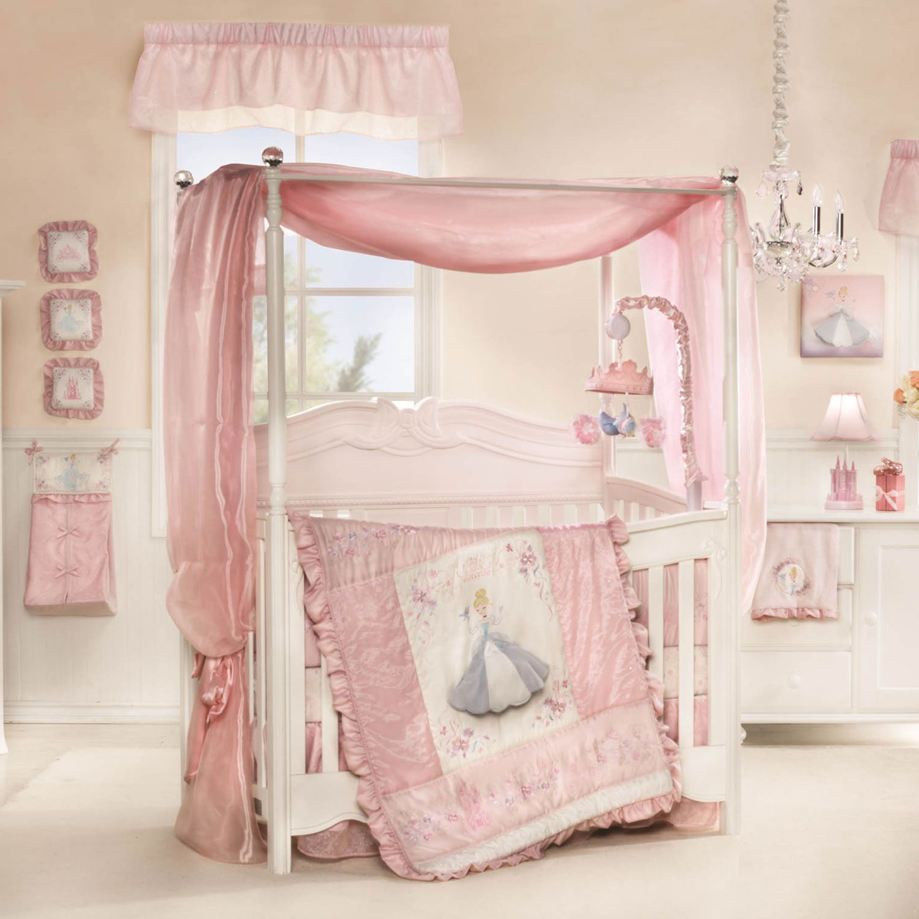 Cinderella Premier 7 Piece Crib Bedding Set Featuring Disney Princess