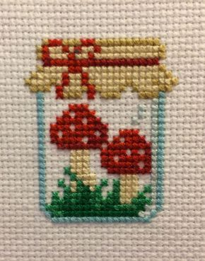 Mushroom Jar Cross Stitch Pattern #craftstosell