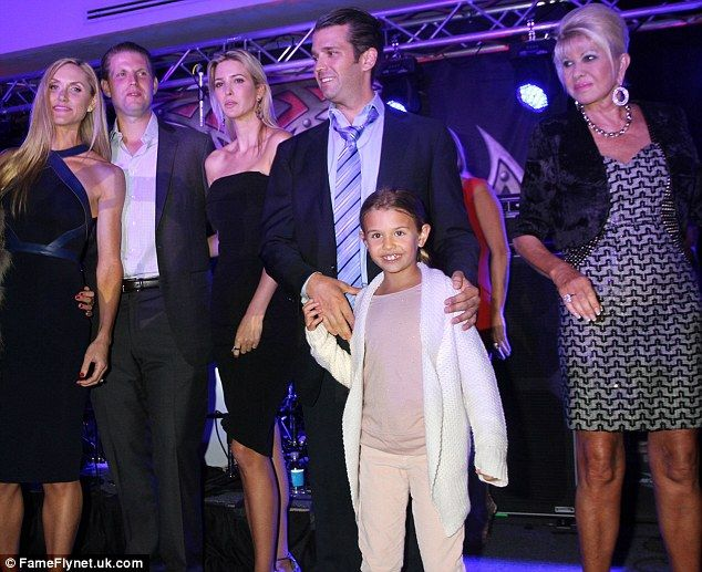 Welcome to the family: Pictured from left, Lara, Eric, Ivanka Trump,