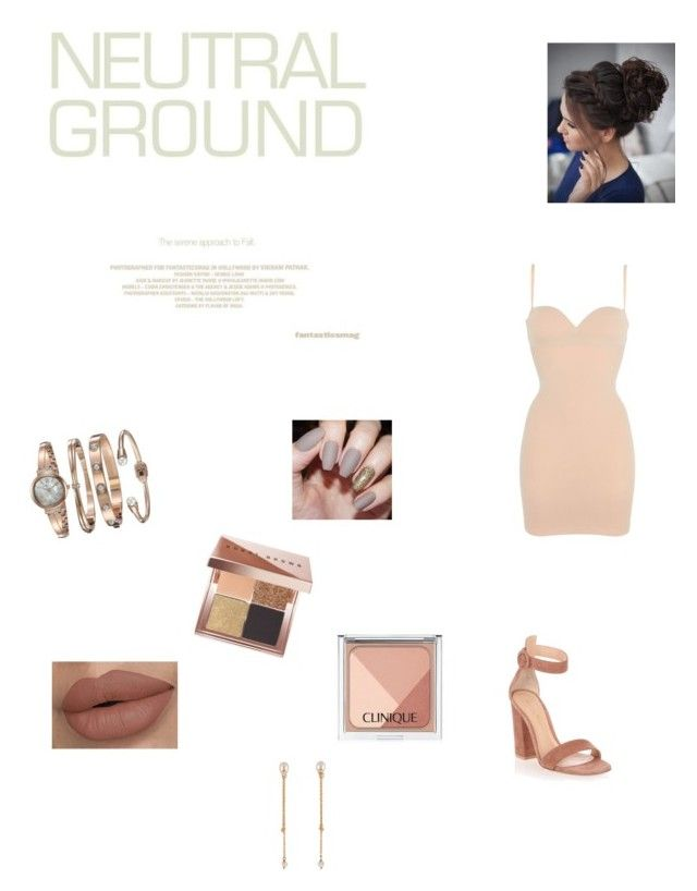 """""""Neutral Look"""" by deanna-monty ❤ liked on Polyvore featuring Wolford, Gianvito Rossi, Anne Klein, Les Néréides, Bobbi Brown Cosmetics and Clinique"""