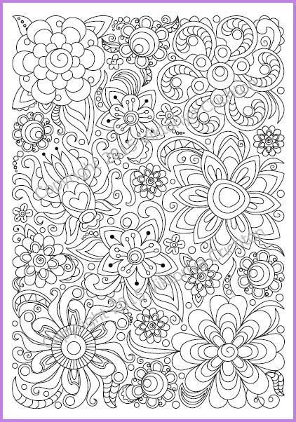 Adults And Children Coloring Page PDF Printable Doodle Flowers Zendoodle Zentangle Inspired 300 USD