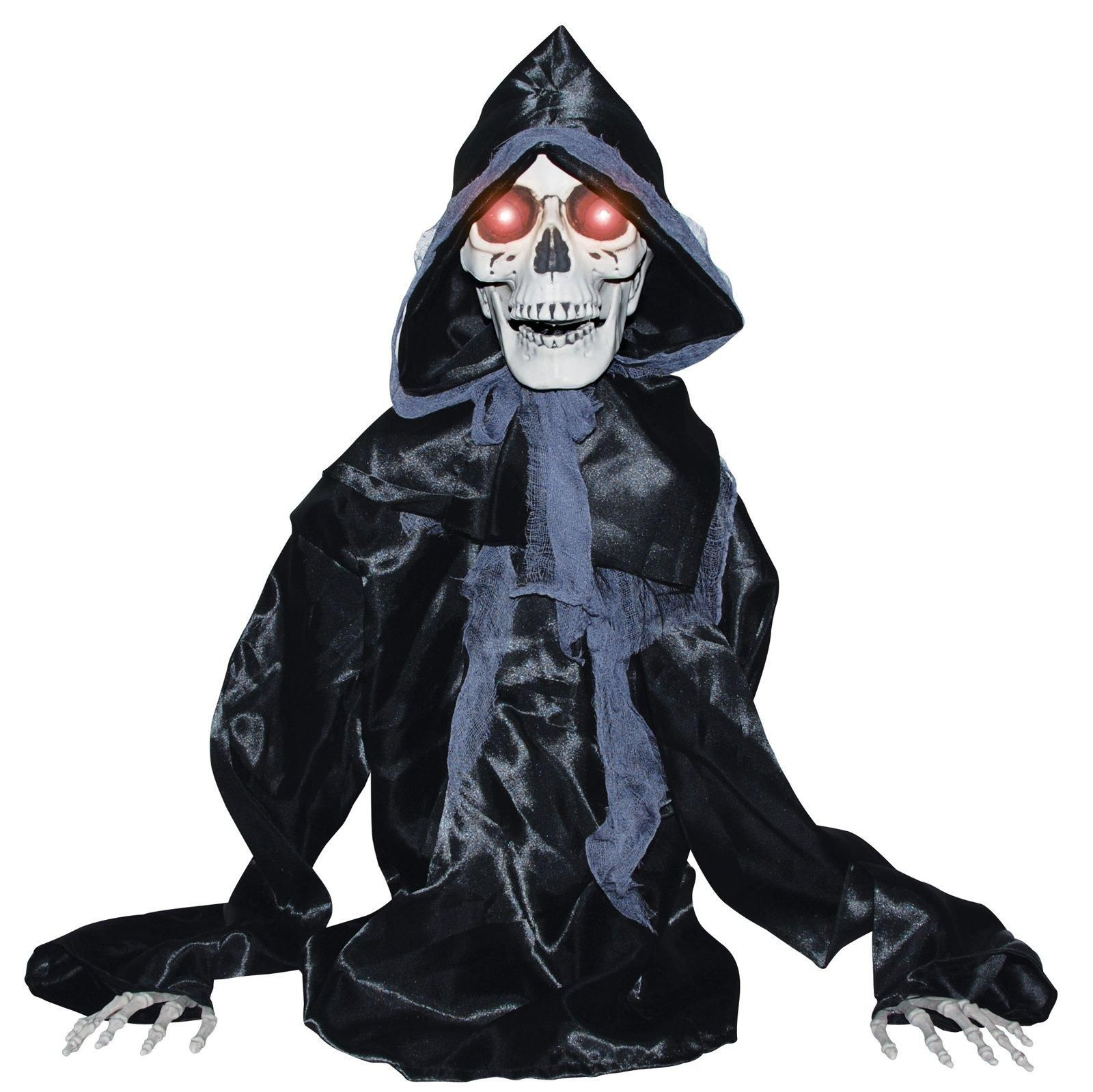 The Animated Rising Black Reaper is sound activated, moves up and - Halloween Ghost Decorations
