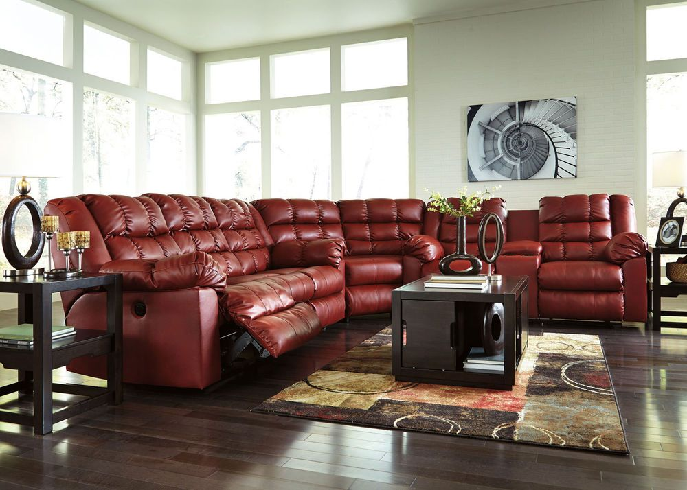Auburn 3pcs Red Bonded Leather Recliner Sofa Couch Sectional Set Living Room Handmade Contemporary