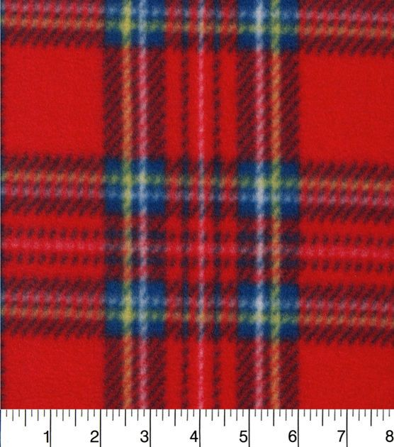 Blizzard Fleece Fabric-Red Plaid Red plaid, Fabrics and Afghans