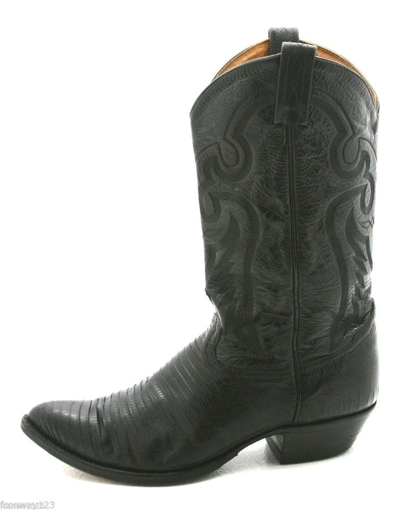 619049729 Tony Lama Mens Cowboy Boots Size 11 D 8843 Black Teju Leather ...
