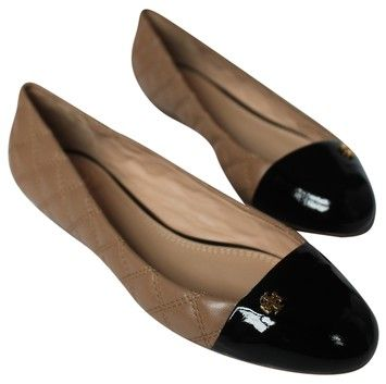 9a5ebfa5fa78 Tory Burch CLAY BEIGE BLACK  250 Brand New In Box Claremont Ballet Quilted  Leather Patent Cap Toe Flats. Get the must-have flats of this season!