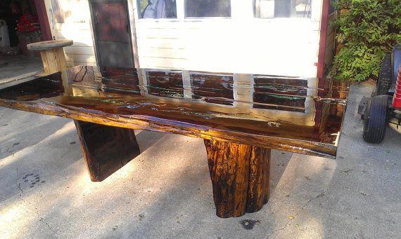 Mesa De Cedro Con Incrustaciones De Turquesa Por Encargo Pieds De Table Et Table