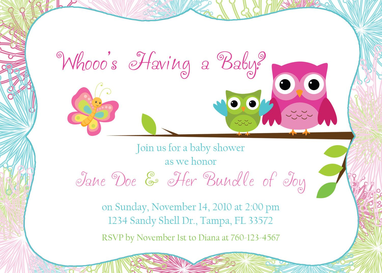 owl baby shower invitation by designsbyoccasion on etsy baby shower ideas. Black Bedroom Furniture Sets. Home Design Ideas
