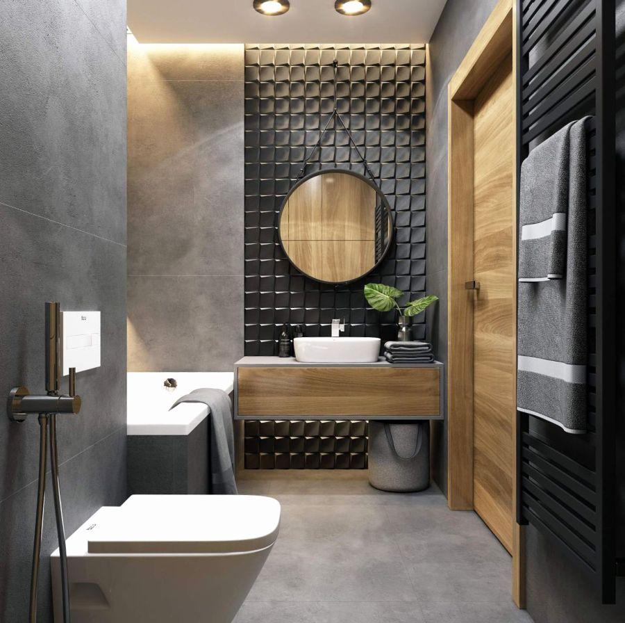 Cuarto de baño en gris y madera | baños en 2019 | Baños ...