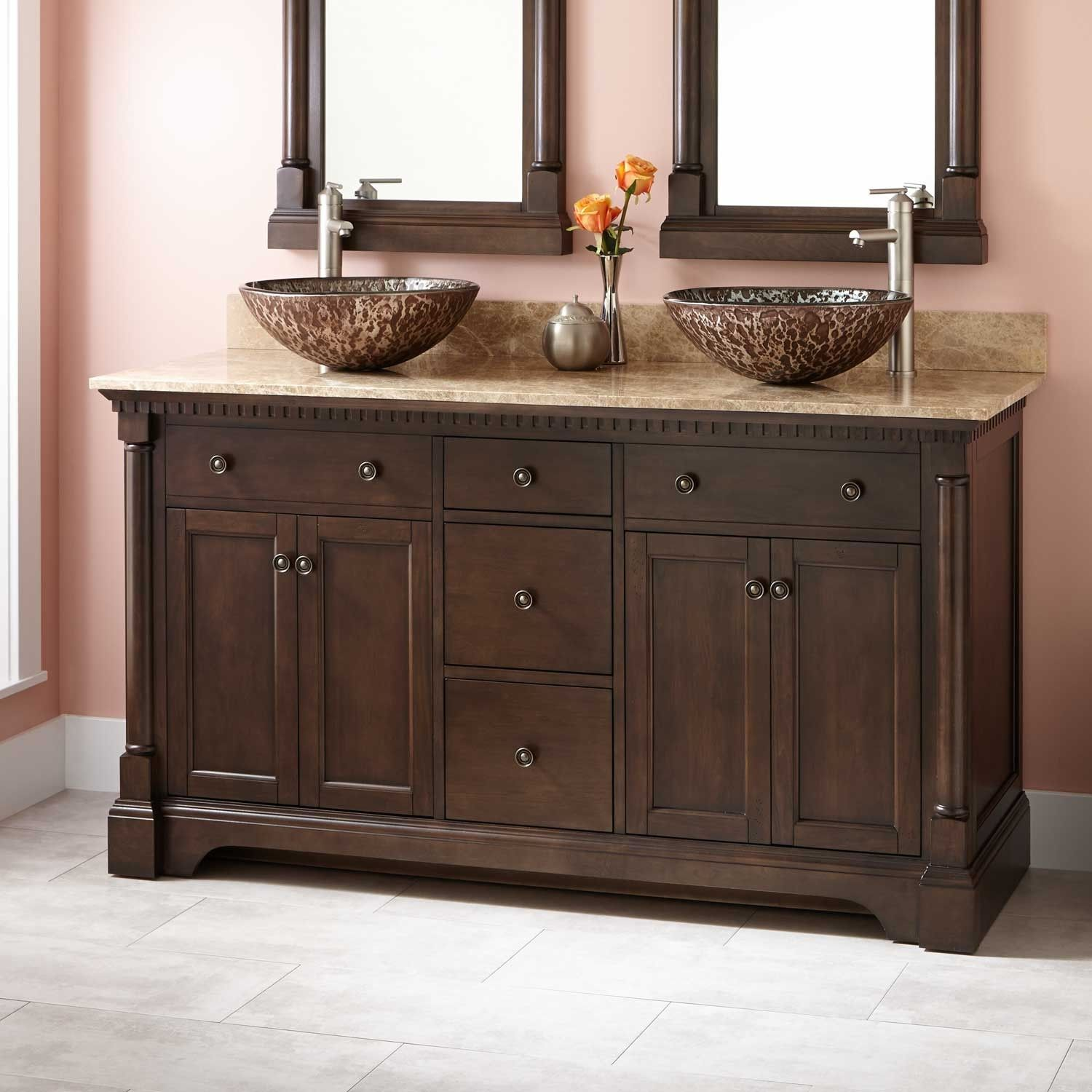 "Northampton 72 Double Bathroom Vanity Set 60"" claudia double vessel sink vanity - antique coffee"
