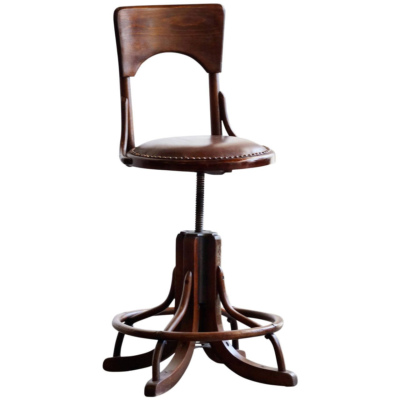 office drafting chair. Antique Oak And Cast Iron Drafting Stool With Back, C. Late 1800s. Office Chair E