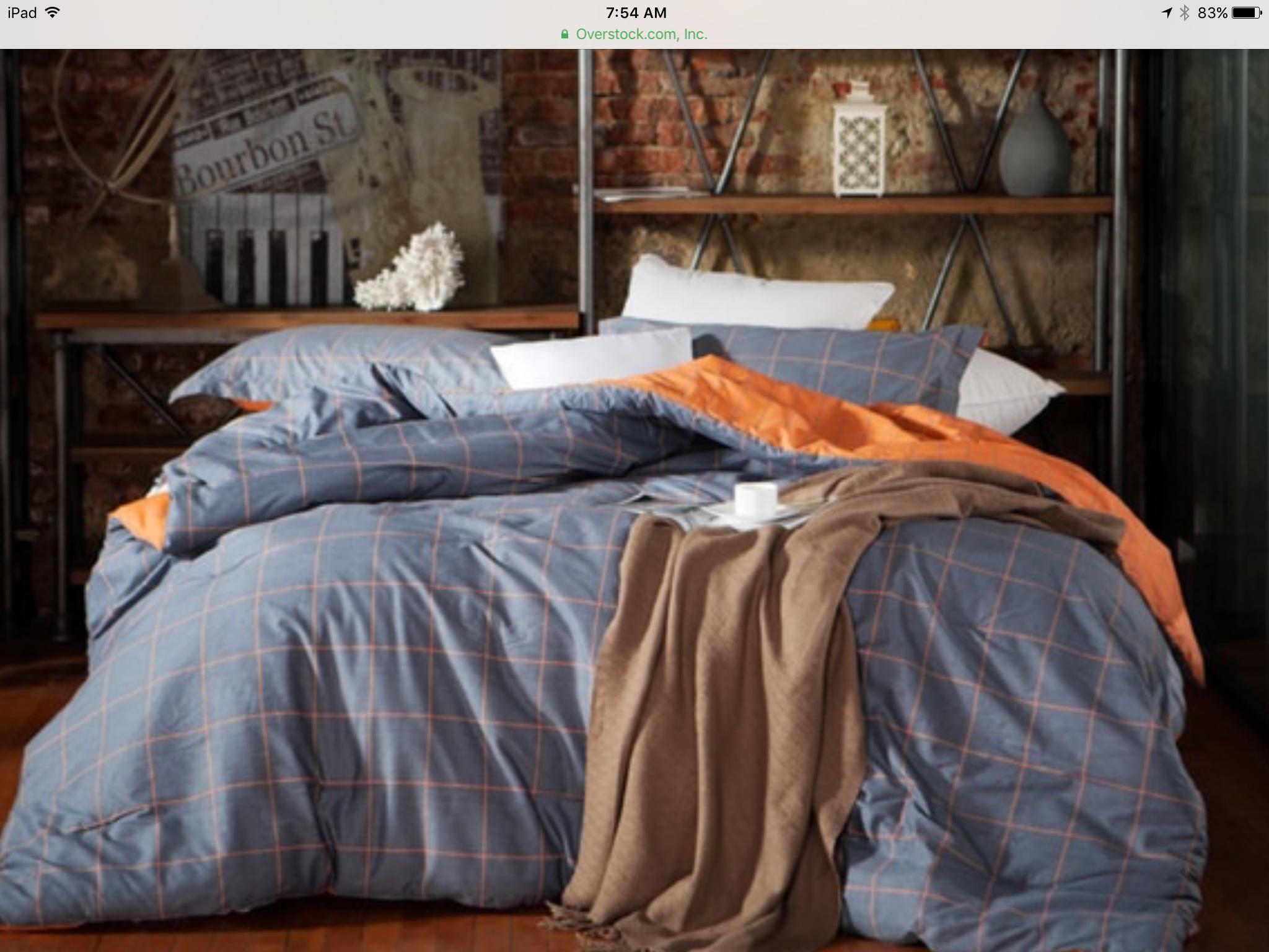 Overstock gray orange Twin XL forter College ideas