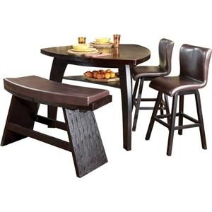 Nova II 4 Piece Contemporary Triangular Pub Table, Stool U0026 Bar Bench Set By