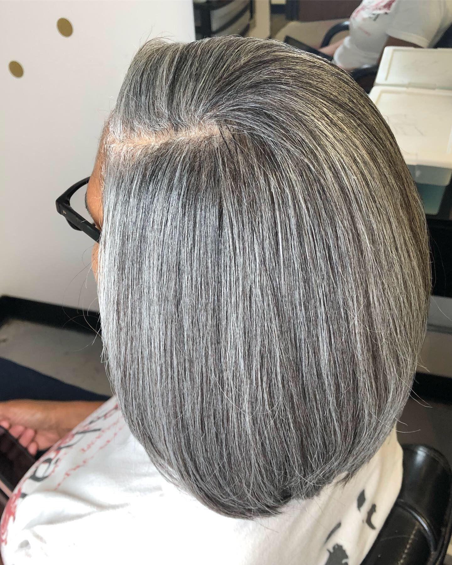 Silk Press Natural Gray Hair Pressed Natural Hair Gray Hair Beauty