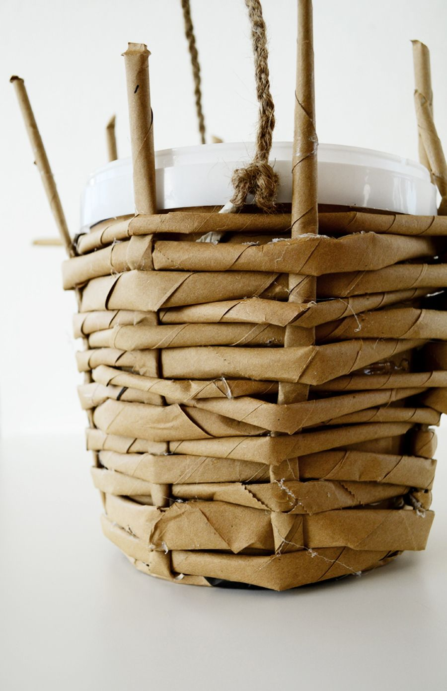 IKEA hack DIY Woven Paper Planter Paper bag crafts
