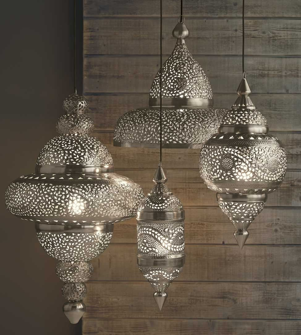 Moroccan silver lamps home pinterest silver lamp moroccan and moroccan hanging lamp collection silver finish arubaitofo Gallery