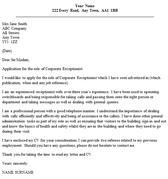 Corporate Receptionist Cover Letter Example Icover Sample Museum
