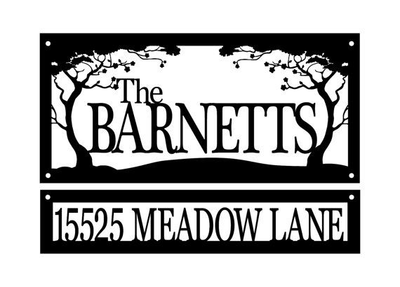 Custom Family Name And Address Metal Signs