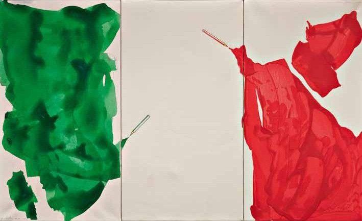 """Giuliano Della Casa, """"Senza titolo"""", tecnica mista su tela, cm 66x110, dal catalogo della mostra """"Novanta artisti per una bandiera"""", ©2013 corsiero editore"""