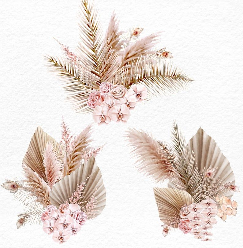 Pampas Grass Orchids Watercolor Clipart 5 Blush Bouquets With Dried Tropical Leaves Pampas Grass Orchids Roses Boho Style Wedding In 2021 Flower Art Pampas Grass Watercolor Clipart