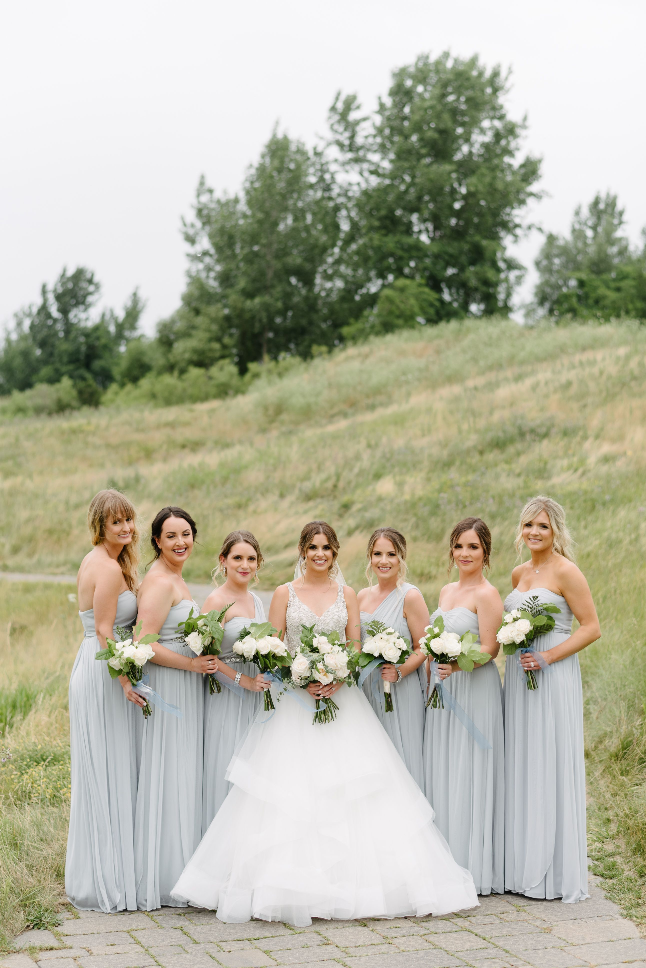Light Grey French Blue Bridesmaid Dresses With White Florals And Greenery Light Grey Bridesmaid Dresses Grey Blue Bridesmaid Dresses Grey Bridesmaid Dresses [ 3870 x 2583 Pixel ]