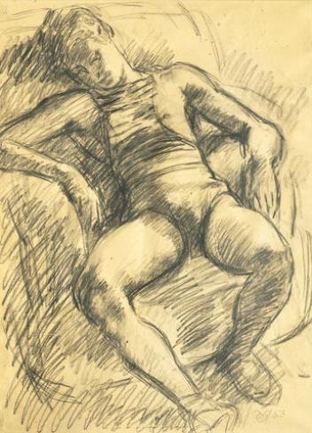 Duncan Grant, Paul reclining, Charcoal, 62 X 45 cm