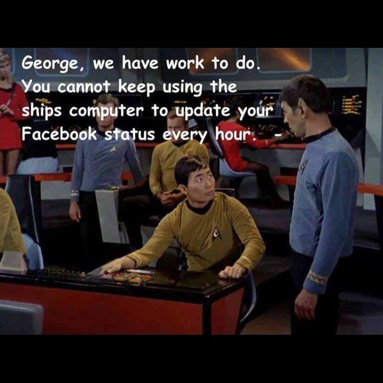 """From a fan. Captain's log: Supplemental. #HelmingWhileUpdating"""
