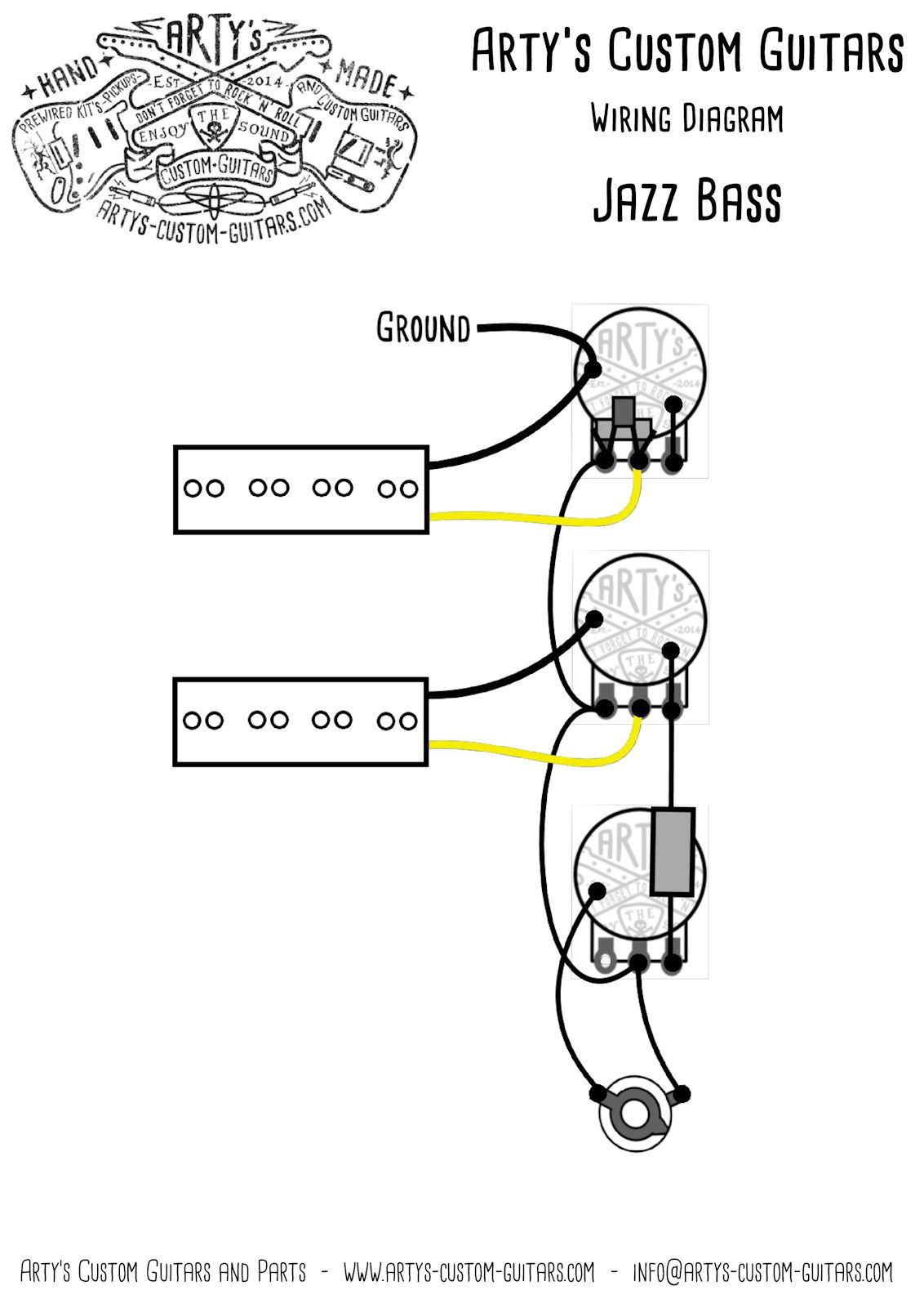 J Bass Balance Pre Wired Kit Jazz Wiring Harness Assembly In Diagram For Guitar Artys Custom Guitars Vintage Prewired Precision P
