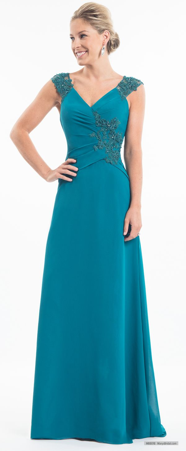 MB8018 Chiffon A-line mother-of-the-bride dress features V-neck, cap ...