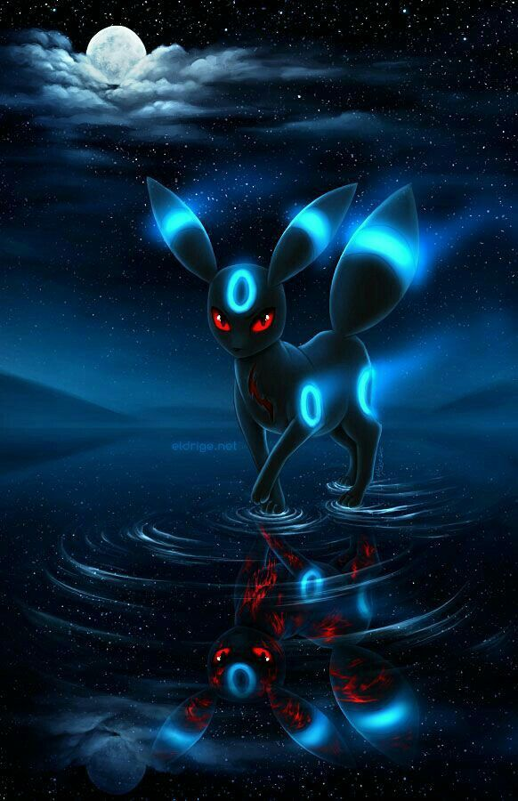 Shiny Umbreon, reflection, water, moon, starry sky, night, red veins, cool; Pokémon