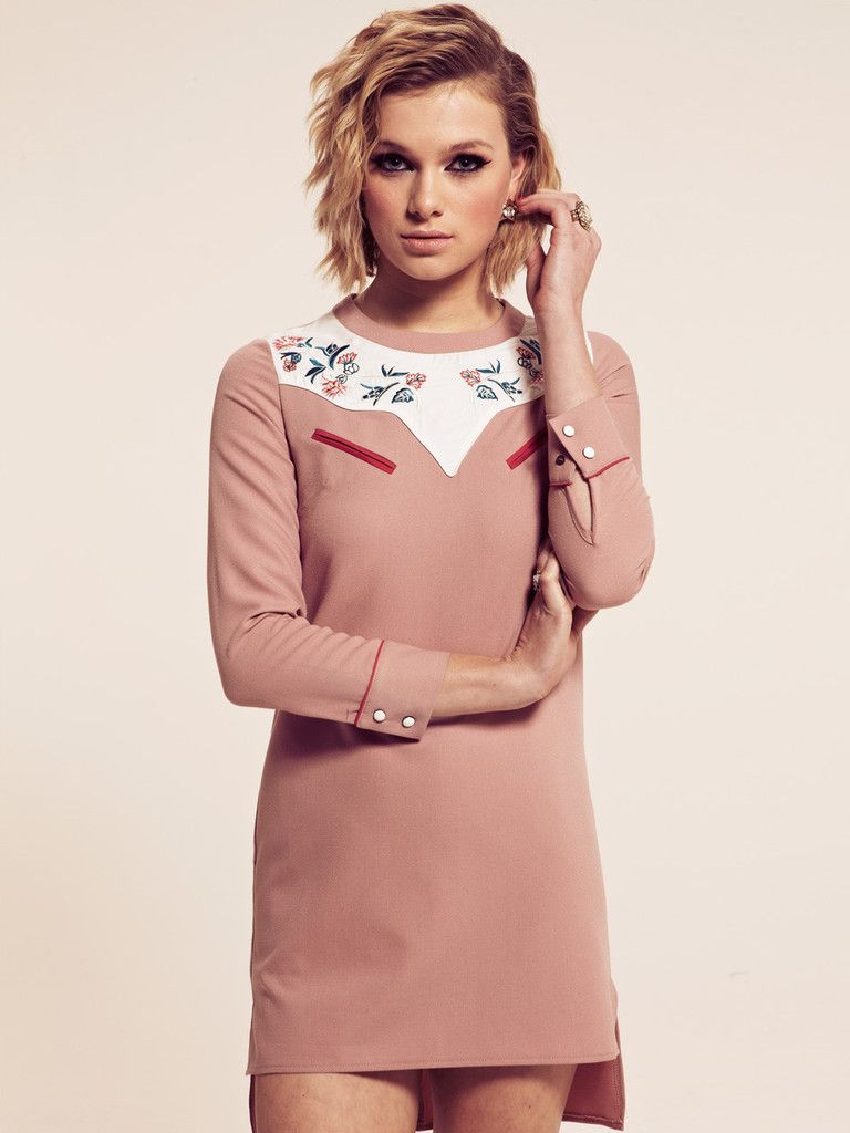 Dahlia Erin Pink Shift Dress - hate the embroidery and hi-lo, but ...