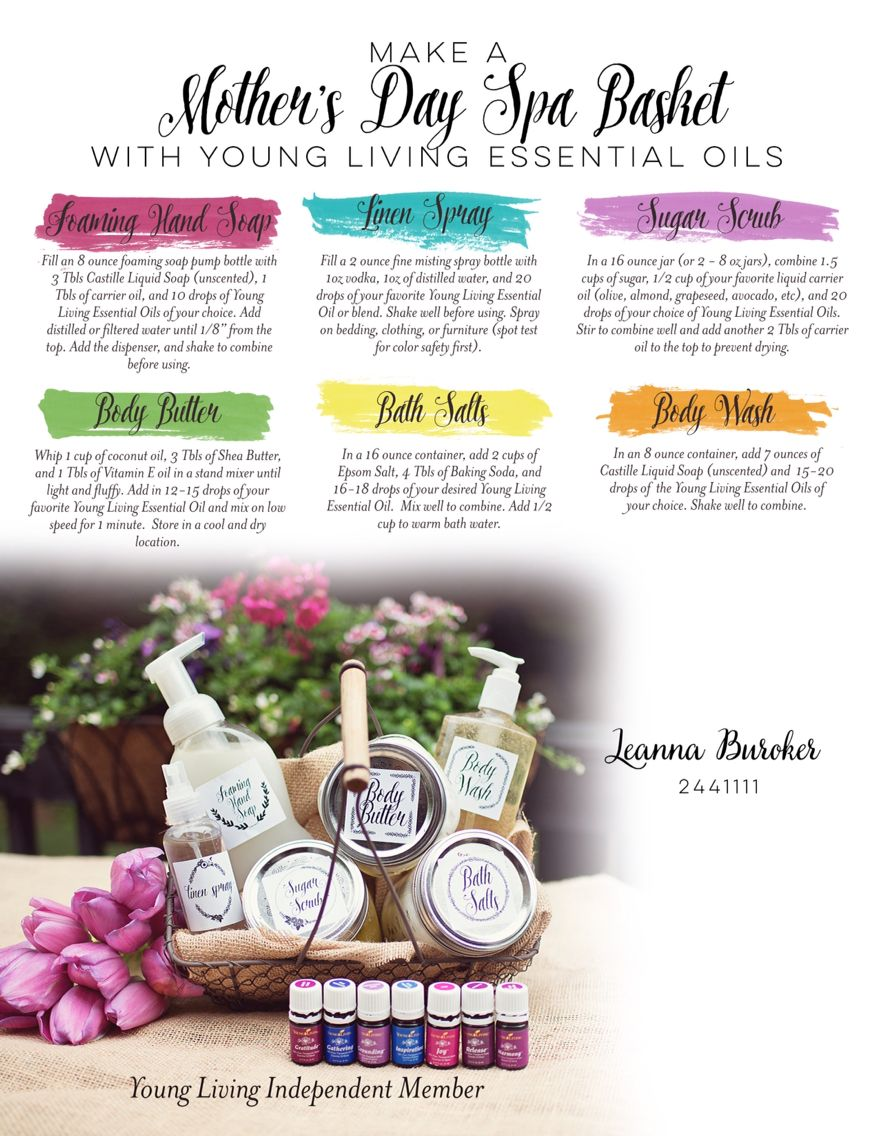 Great DIY at home spa ideas for Mothers Day gifts using Young Living ...