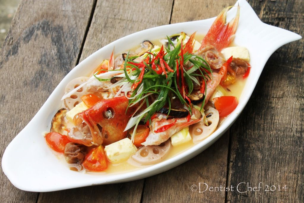 Teochew style steamed fish recipe with seven star grouper for Chinese steamed fish