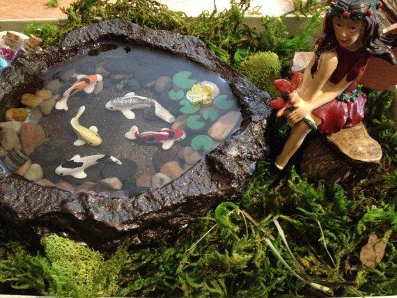 Miniature koi pond b fairy garden accessory fairy garden for Artificial koi fish for ponds
